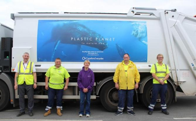 A Copeland recycling crew with a newly-liveried lorry